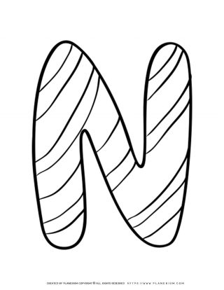 English Alphabet - Capital N with Pattern - Coloring Page | Planerium