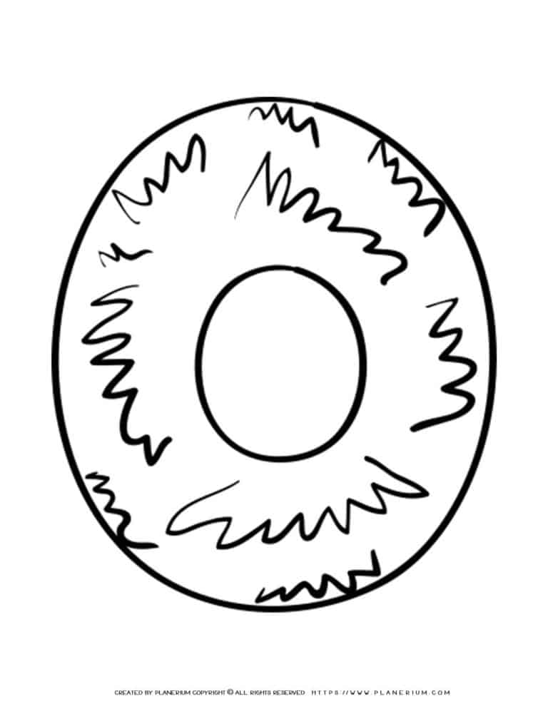 English Alphabet - Capital O with Pattern - Coloring Page | Planerium