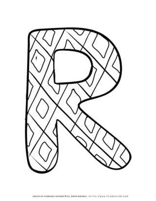 English Alphabet - Capital R with Pattern - Coloring Page | Planerium
