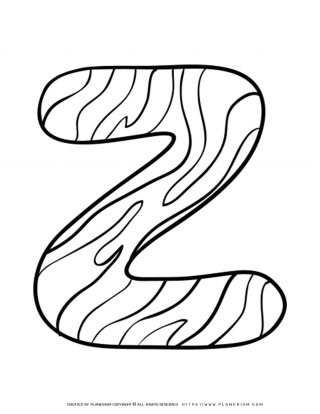 English Alphabet - Capital Z with Pattern - Coloring Page | Planerium
