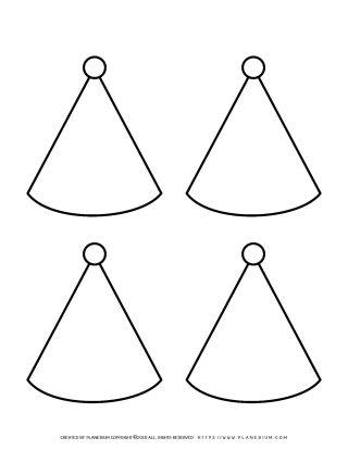 Four Birthday Hats Template | Planerium