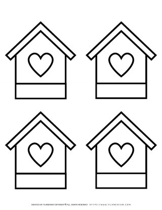 Four Houses With A Heart Template | Planerium