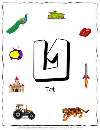 Hebrew Alphabet - Objects That Starts With Letter Tet | Planerium