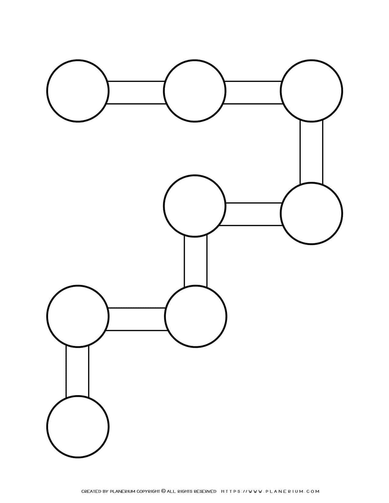 Sequence Chart Template - Eight Circles on R Shape   Planerium