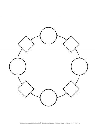 Sequence Chart Template - Four Squares and Four Circles on a Circle | Planerium