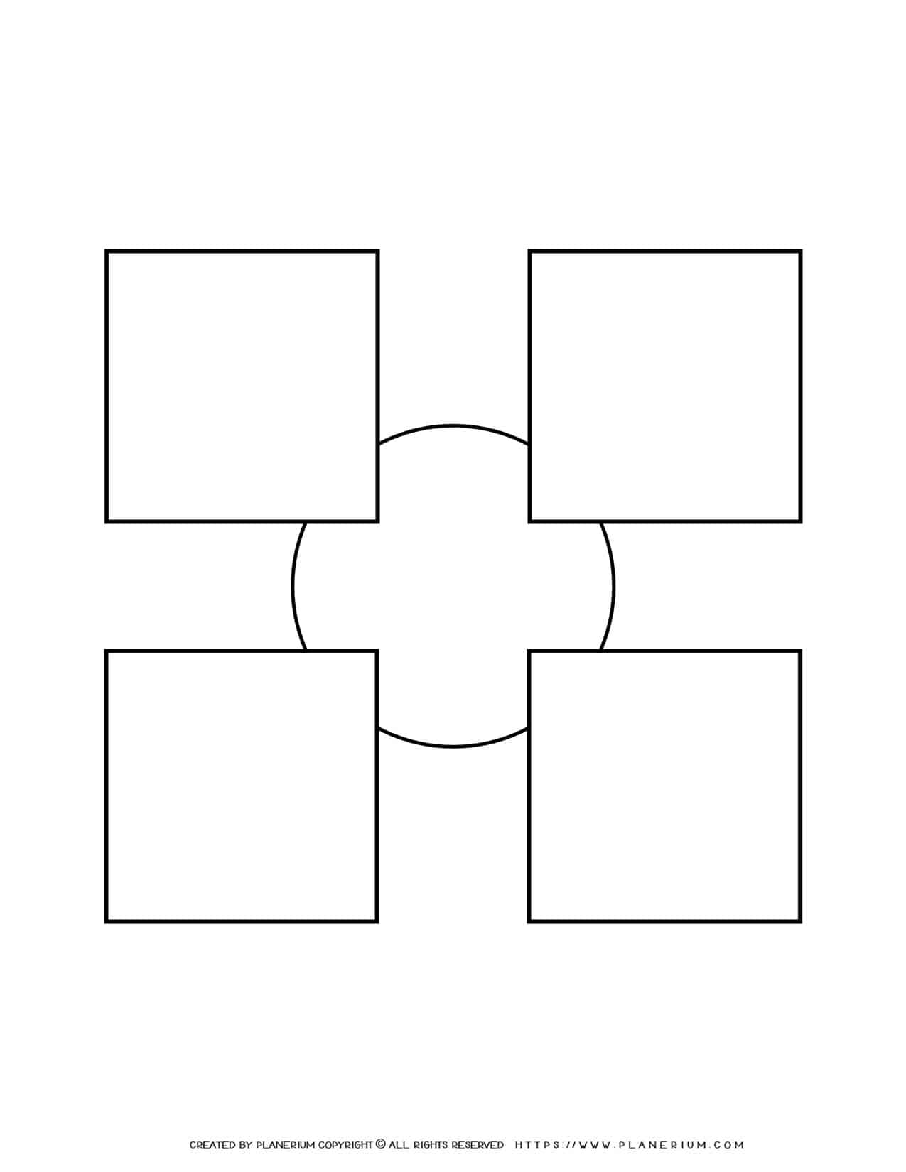 Sequence Chart Template - Four Squares on a Small Circle   Planerium