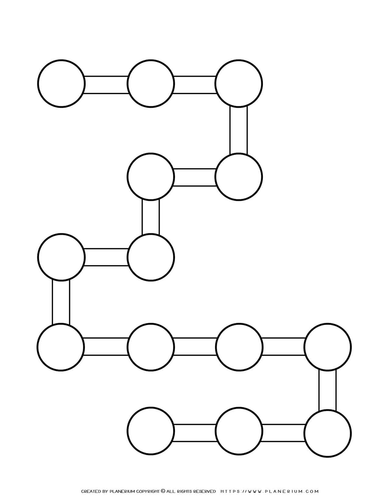 Sequence Chart Template - Fourteen Circles on a B Shape   Planerium