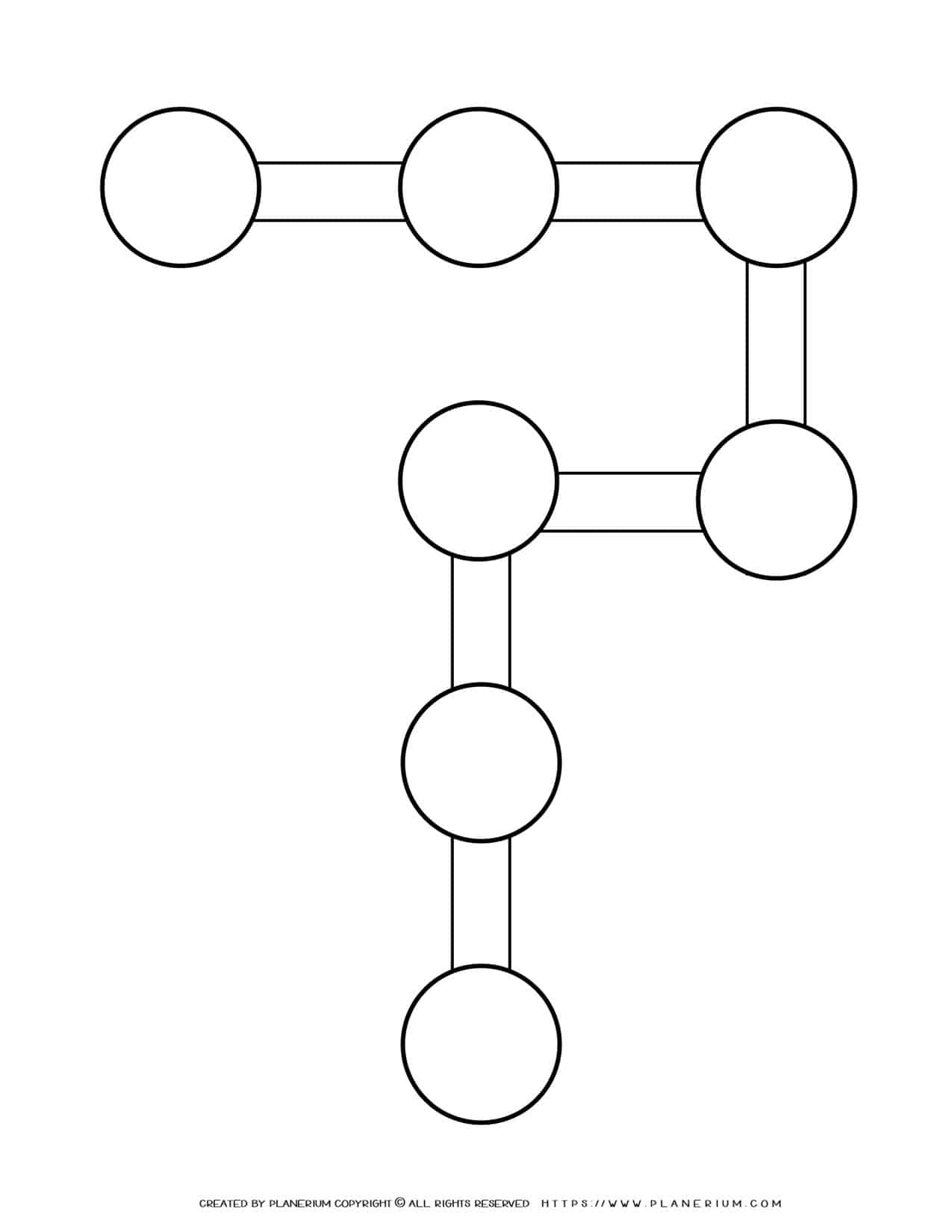 Sequence Chart Template - Seven Circles on P Shape | Planerium