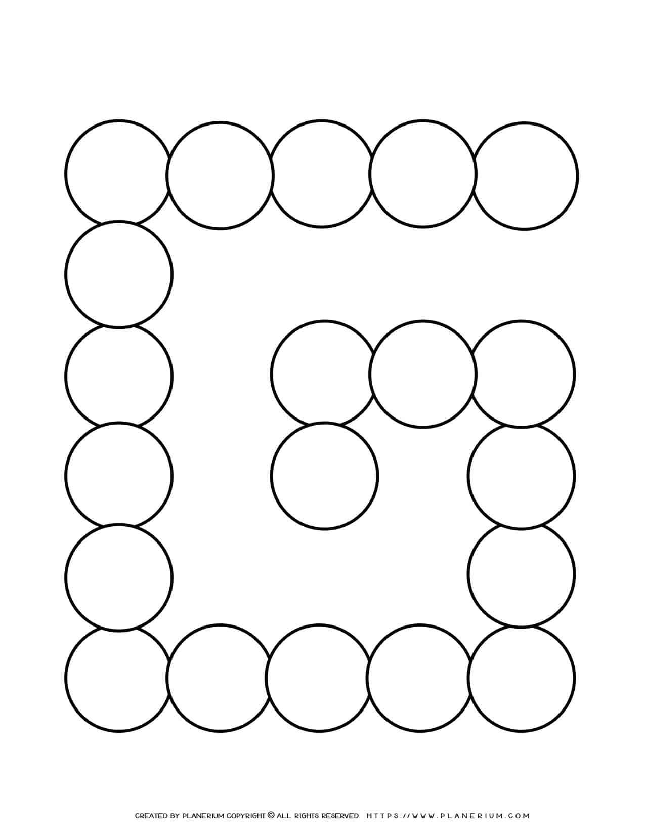 Sequence Chart Template - Twenty Circles on a G Shape   Planerium