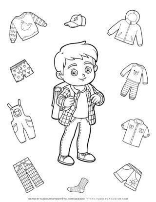 Clothes Coloring Page - Boy Clothes | Planerium