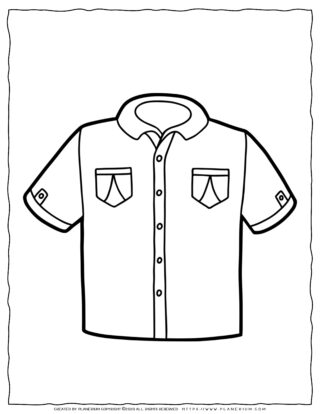 Clothes Coloring Page - Boy Short Sleeve Shirt | Planerium