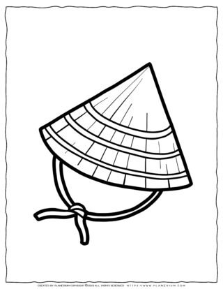 Clothes Coloring Page - Chinese Hat | Planerium