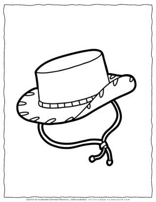 Clothes Coloring Page - Cowboy Hat | Planerium