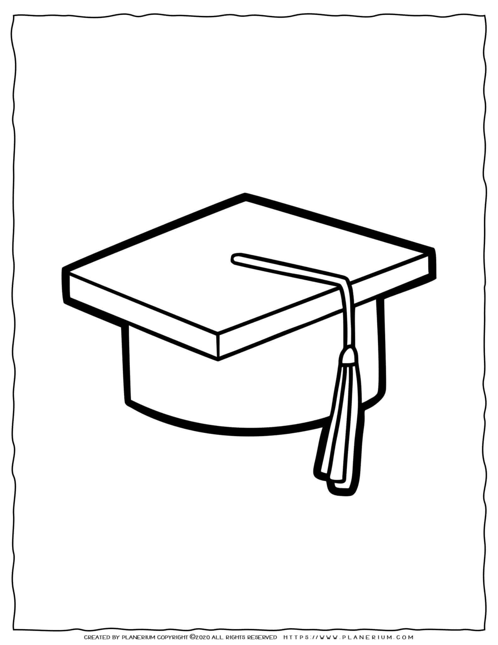 Clothes Coloring Page - Graduation Hat | Planerium