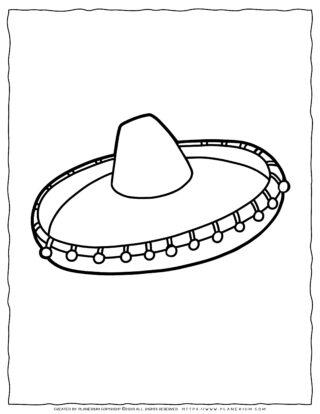 Clothes Coloring Page - Mexican Sombrero Hat | Planerium