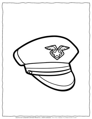 Clothes Coloring Page - Police Hat | Planerium
