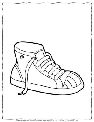 Clothes Coloring Page - Shoe Sneakers | Planerium