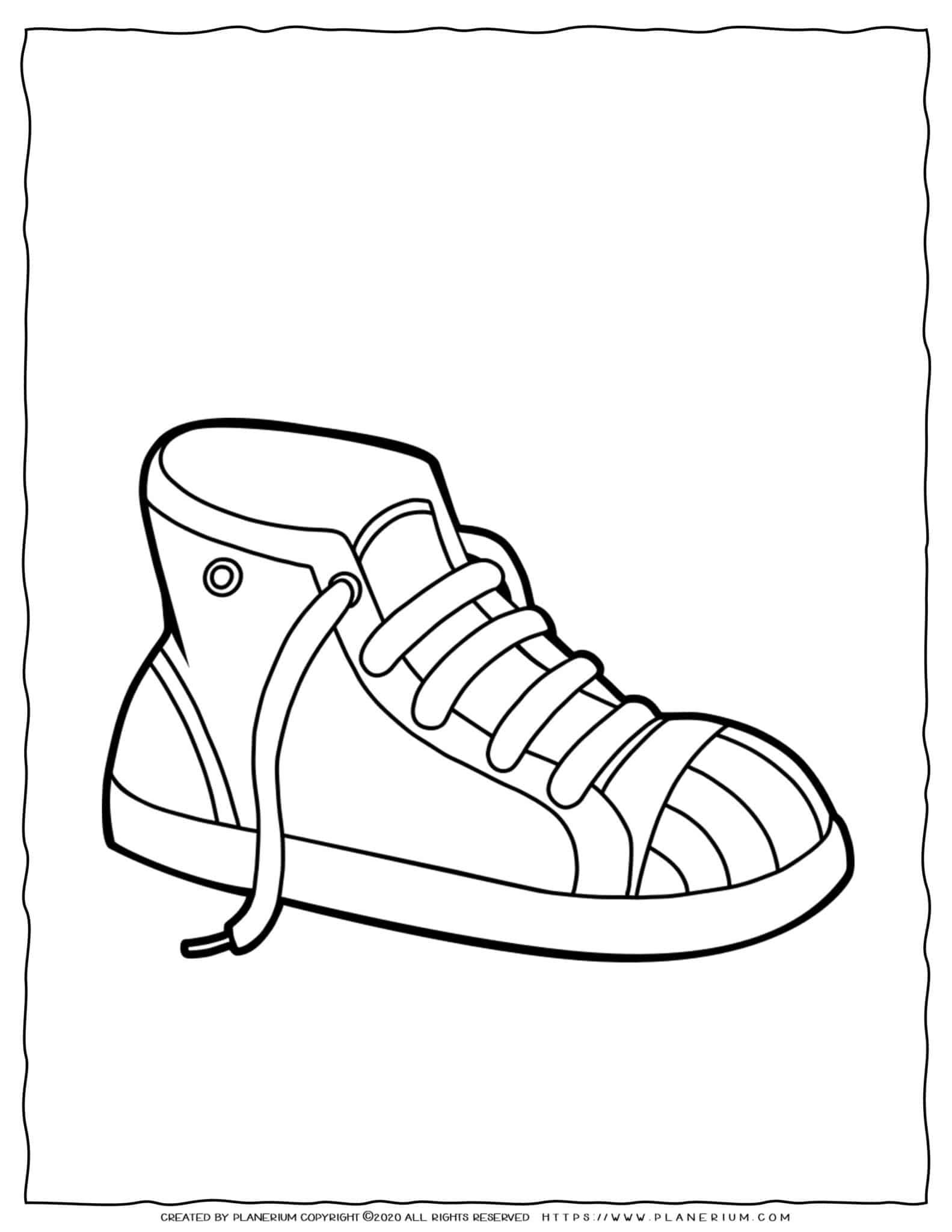 Clothes Coloring Page - Shoe Sneakers   Planerium