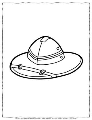 Clothes Coloring Page - Travel Hat | Planerium