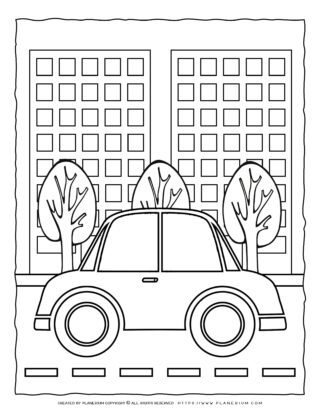 Transportation Coloring Page - Car on the Road | Planerium
