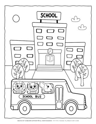 Transportation Coloring Page - School Bus | Planerium