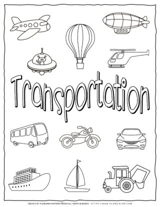 Transportation Coloring Page - Title with Objects | Planerium