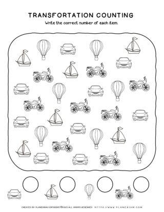 Transportation Worksheet - Counting Objects | Planerium