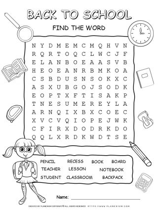 Back To School - Word Search Puzzle With Ten Words | Planerium