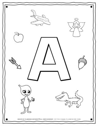 English Alphabet - Things Starting With A - Coloring Page | Planerium