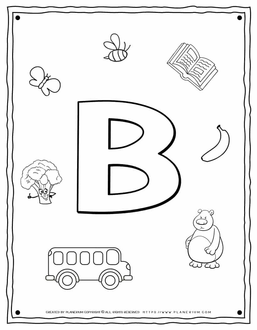 English Alphabet - Things Starting With B - Coloring Page | Planerium
