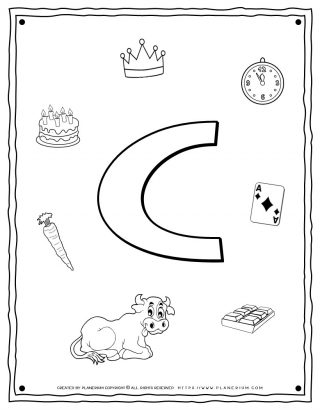 English Alphabet - Things Starting With C - Coloring Page | Planerium