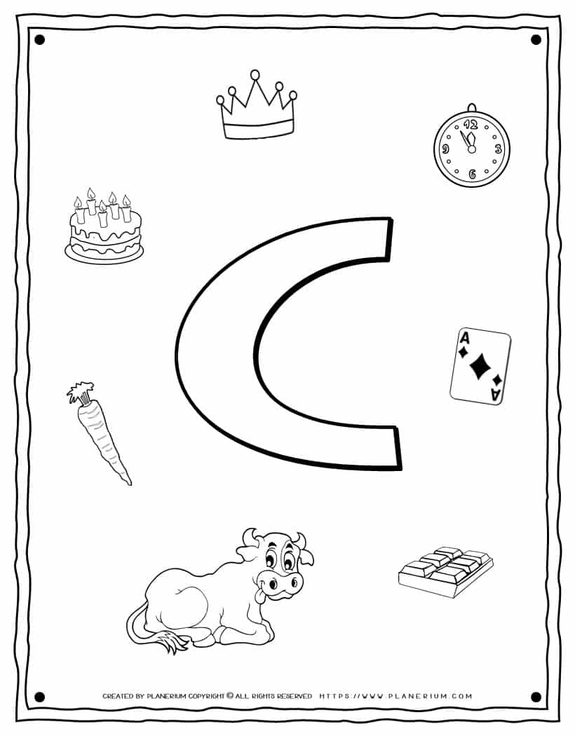 English Alphabet - Things Starting With C - Coloring Page   Planerium