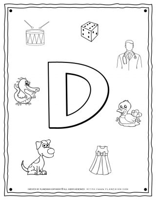 English Alphabet - Things Starting With D - Coloring Page | Planerium