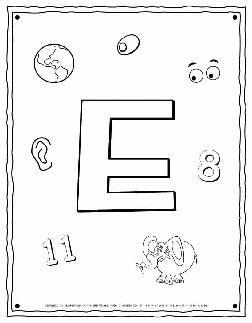 English Alphabet - Things Starting With E - Coloring Page   Planerium