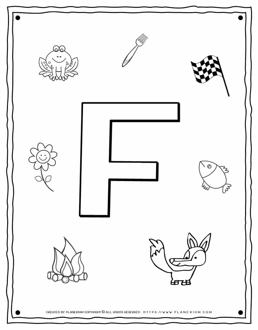 English Alphabet - Things Starting With F - Coloring Page | Planerium