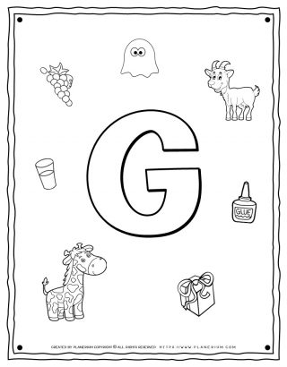 English Alphabet - Things Starting With G - Coloring Page | Planerium