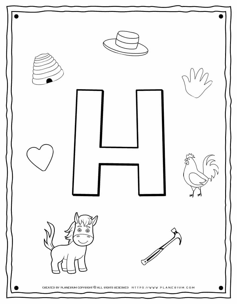 English Alphabet - Things Starting With H - Coloring Page   Planerium