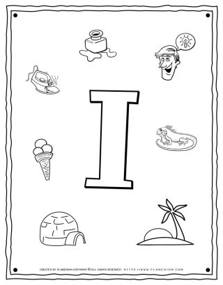 English Alphabet - Things Starting With I - Coloring Page | Planerium