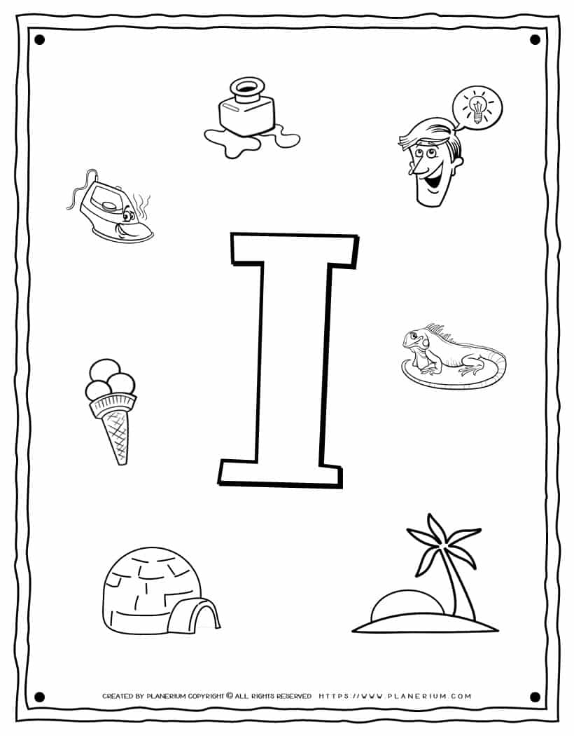 English Alphabet - Things Starting With I - Coloring Page   Planerium