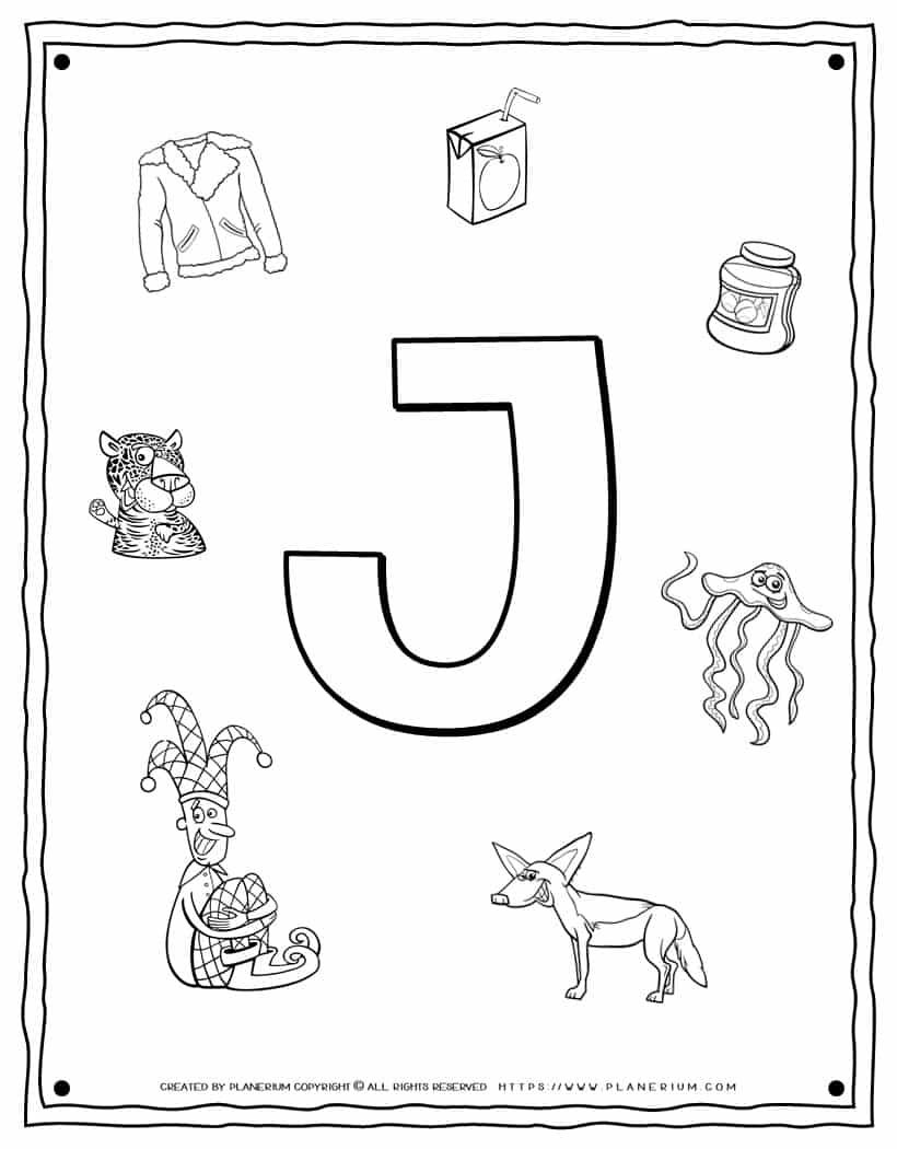 English Alphabet - Things Starting With J - Coloring Page | Planerium