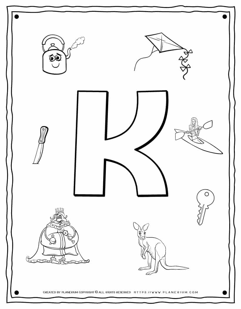 English Alphabet - Things Starting With K - Coloring Page | Planerium