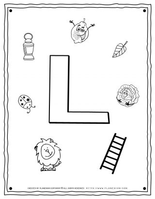 English Alphabet - Things Starting With L - Coloring Page | Planerium