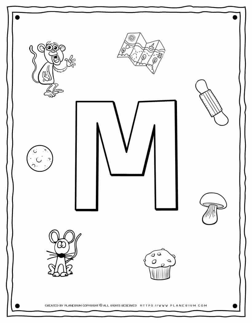 English Alphabet - Things Starting With M - Coloring Page   Planerium