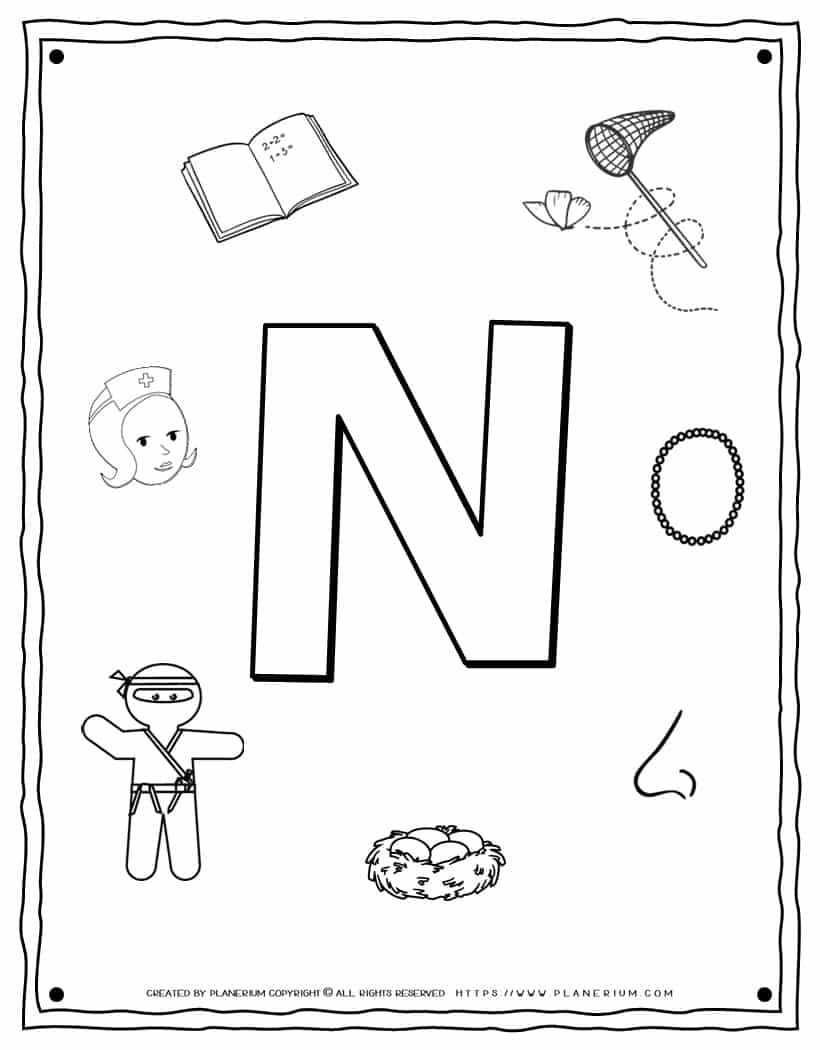 English Alphabet - Things Starting With N - Coloring Page | Planerium