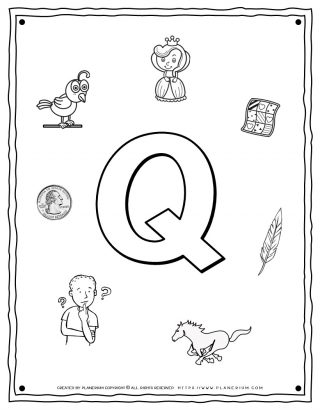 English Alphabet - Things Starting With Q - Coloring Page | Planerium