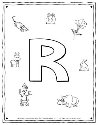 English Alphabet - Things Starting With R - Coloring Page | Planerium
