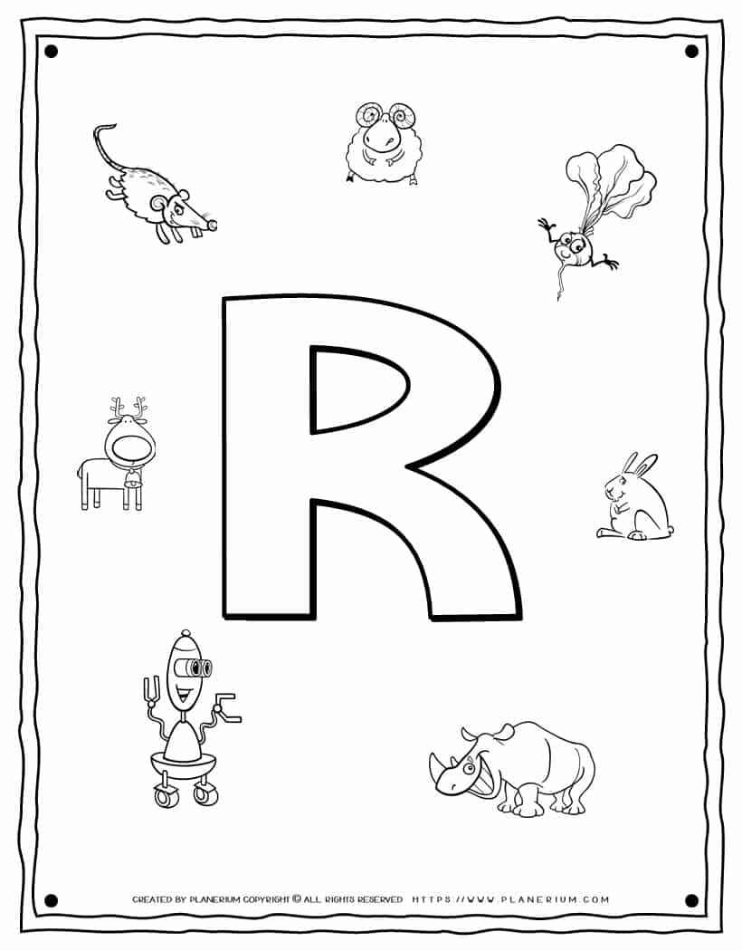English Alphabet - Things Starting With R - Coloring Page   Planerium