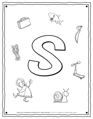 English Alphabet - Things Starting With S - Coloring Page | Planerium