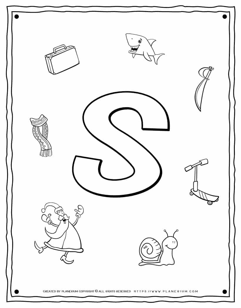 English Alphabet - Things Starting With S - Coloring Page   Planerium
