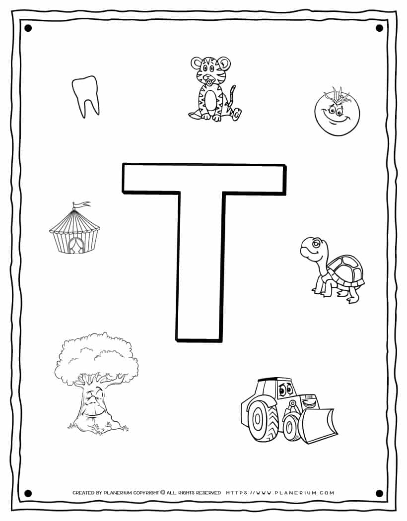 English Alphabet - Things Starting With T - Coloring Page | Planerium